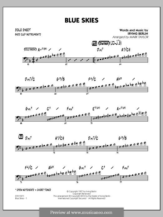 Blue Skies (arr. Mark Taylor): Bass Clef Solo Sheet part by Irving Berlin