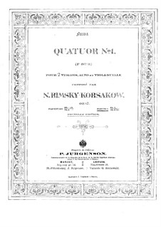 String Quartet in F Major, Op.12: Violin I part by Nikolai Rimsky-Korsakov