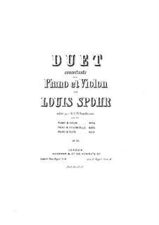 Concerto Sonata for Harp (or Piano) and Violin (or Cello), Op.113: Harp (or piano) part by Louis Spohr