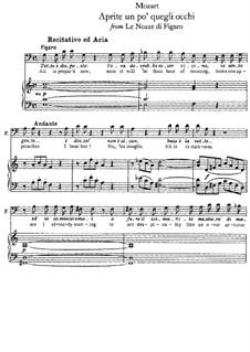 Aprite un po' quegli occhi: Piano-vocal score by Wolfgang Amadeus Mozart