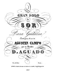 Grand Solo for Guitar, Op.14: For a single performer by Fernando Sor