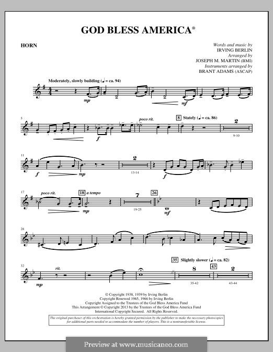 Orchester version (arr. Joseph Martin): F Horn part by Irving Berlin