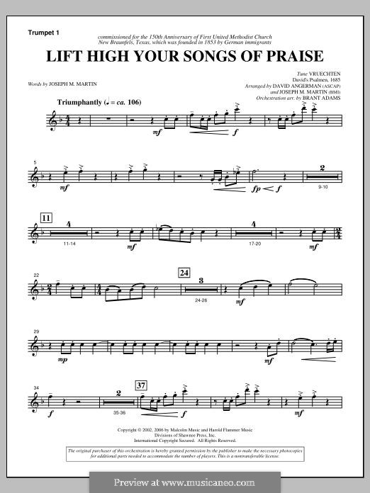 Lift High Your Songs of Praise (from Footprints in The Sand): Trumpet 1 part by David Angerman, Joseph M. Martin