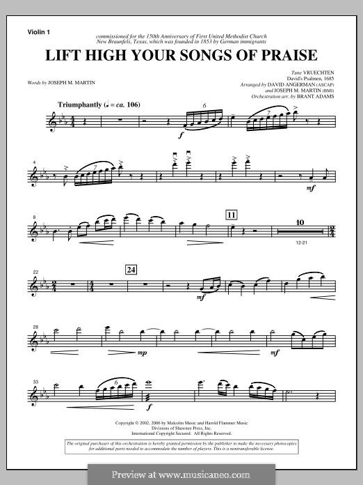 Lift High Your Songs of Praise (from Footprints in The Sand): Violin 1 part by David Angerman, Joseph M. Martin
