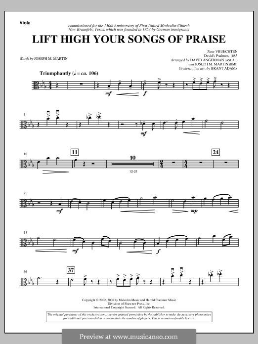 Lift High Your Songs of Praise (from Footprints in The Sand): Viola part by David Angerman, Joseph M. Martin