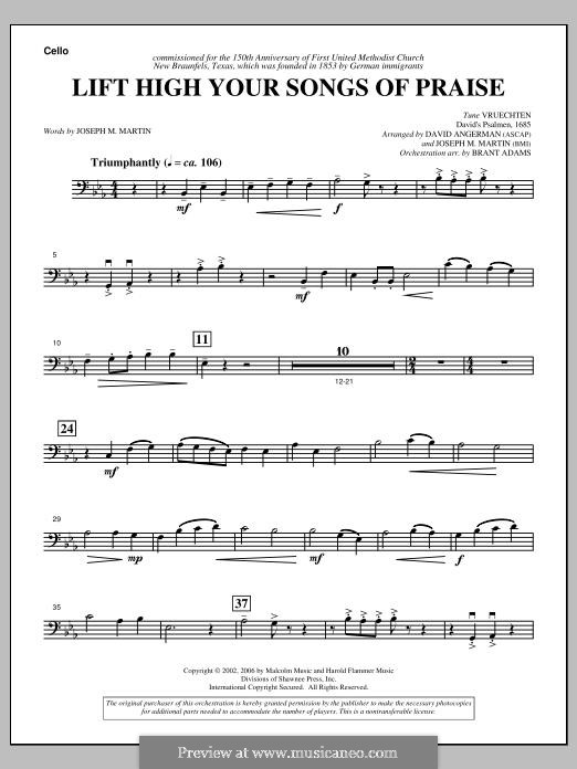 Lift High Your Songs of Praise (from Footprints in The Sand): Cello part by David Angerman, Joseph M. Martin