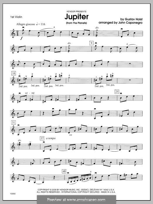 Jupiter: 1st Violin part by Gustav Holst