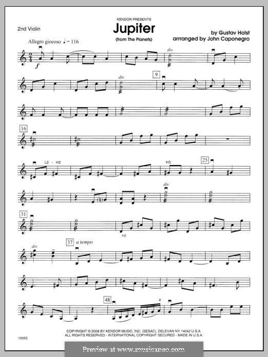 Jupiter: 2nd Violin part by Gustav Holst