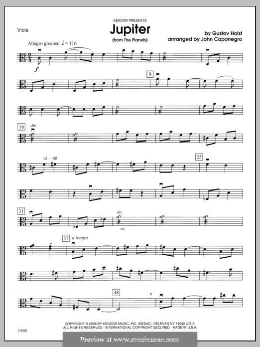 Jupiter: Viola part by Gustav Holst