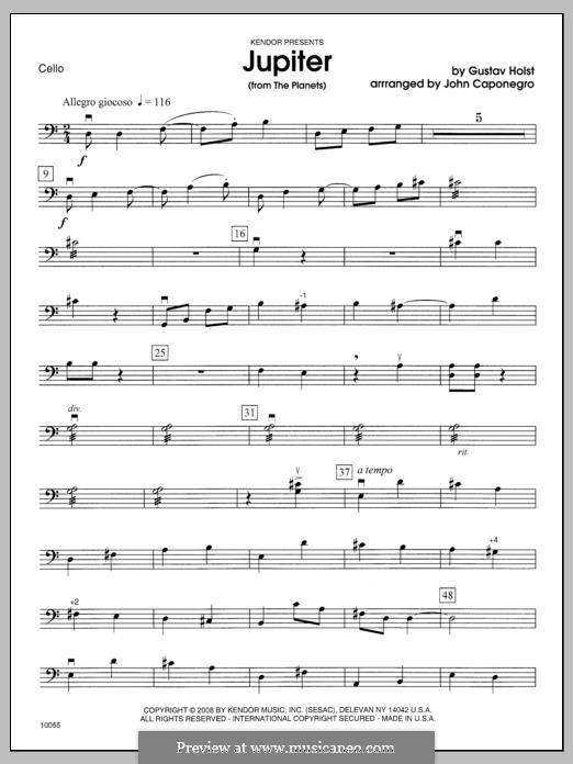 Jupiter: Cello part by Gustav Holst