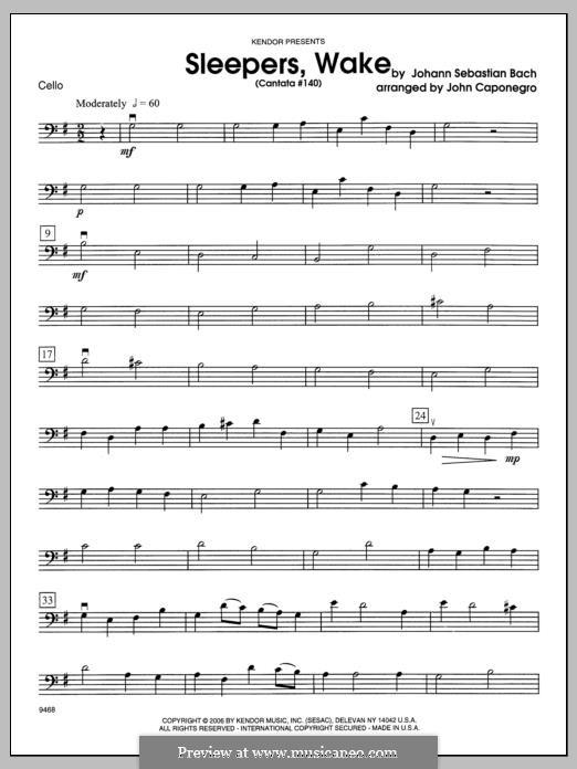 Sleepers, Awake: Cello part by Johann Sebastian Bach