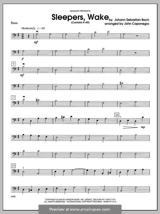 Sleepers, Awake: Bass part by Johann Sebastian Bach