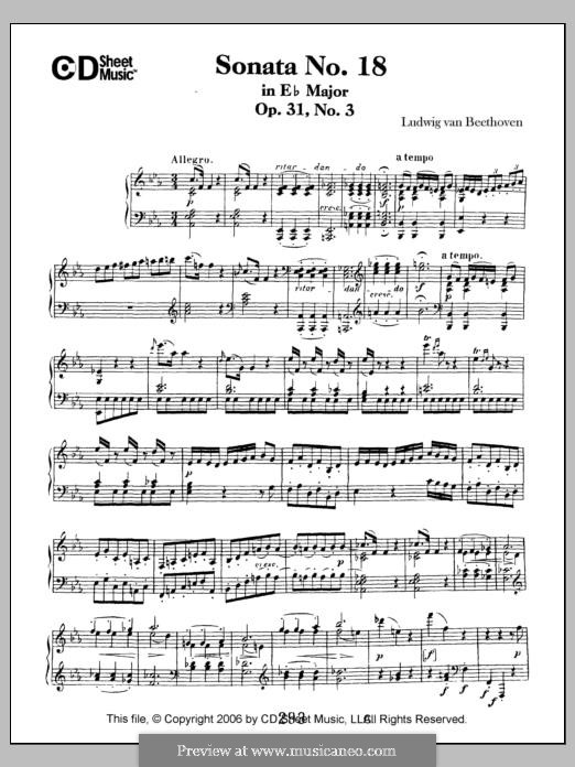Sonata for Piano No.18 'The Hunt', Op.31 No.3: For a single performer by Ludwig van Beethoven
