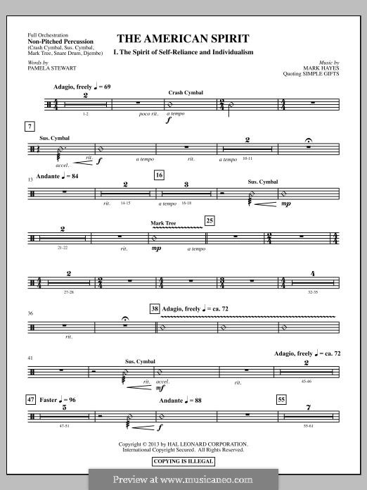 The American Spirit: Un-pitched Percussion part by Mark Hayes