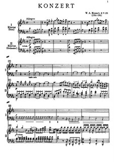 Concerto for Piano and Orchestra No.9 in E Flat Major 'Jeunehomme', K.271: Arrangement for two pianos four hands by Wolfgang Amadeus Mozart