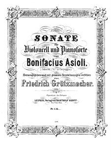 Sonata for Cello and Piano in C Major: Score by Bonifazio Asioli