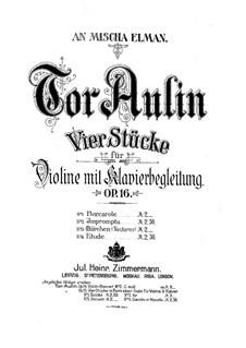 Four Pieces for Violin and Piano, Op.16: No.3 Märchen (Tale) by Tor Aulin