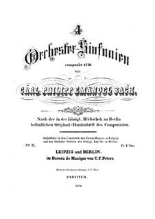 Symphony No.2 in E Flat Major, H 664 Wq 183:2: Full score by Carl Philipp Emanuel Bach
