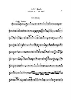 Symphony No.3 in F Major, H 665 Wq 183:3: Oboes parts by Carl Philipp Emanuel Bach