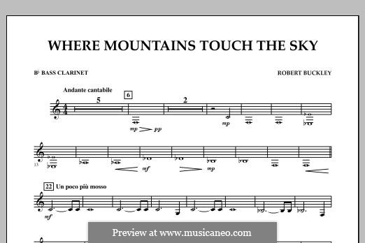 Where Mountains Touch the Sky: Bb Bass Clarinet part by Robert Buckley