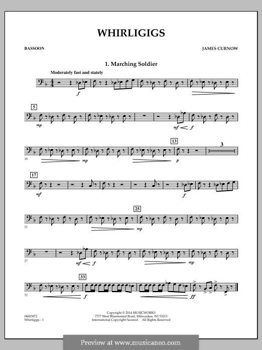 Whirligigs: Bassoon part by James Curnow