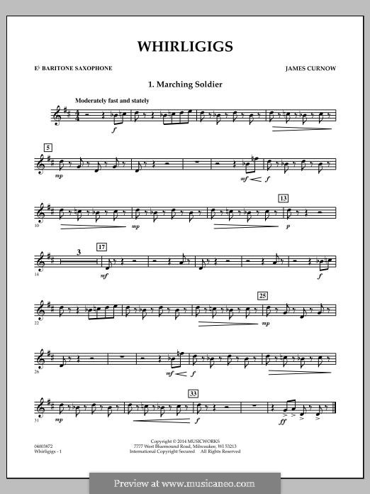 Whirligigs: Eb Baritone Saxophone part by James Curnow