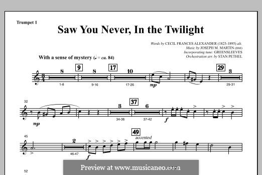 Saw You Never, In The Twilight (from Season of Wonders): Bb Trumpet 1 part by Joseph M. Martin