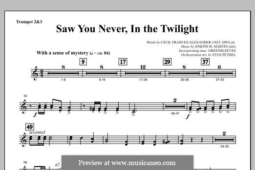 Saw You Never, In The Twilight (from Season of Wonders): Bb Trumpet 2,3 part by Joseph M. Martin