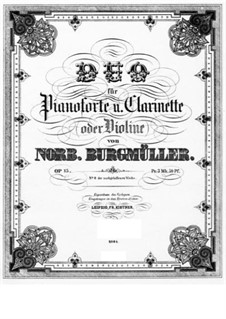 Duo for Clarinet and Piano, Op.15: Score by Norbert Burgmüller