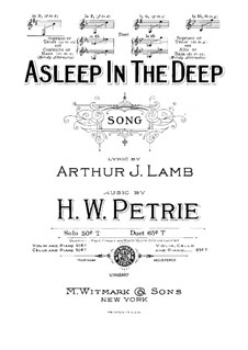 Asleep in the Deep: D Major by Henry W. Petrie