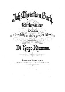 Six Concertos for Harpsichord (or Piano) and Strings, Op.7: No.3 Piano score, W C57 by Johann Christian Bach