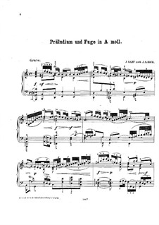 Sonata for Violin No.2 in A Minor, BWV 1003: Prelude, Fugue and Andante. Arrangement for piano by Johann Sebastian Bach
