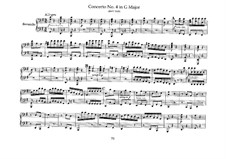 Brandenburg Concerto No.4 in G Major, BWV 1049: Arrangement for piano four hands – parts by Johann Sebastian Bach