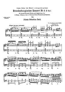 Brandenburg Concerto No.4 in G Major, BWV 1049: Arrangement for piano by Johann Sebastian Bach