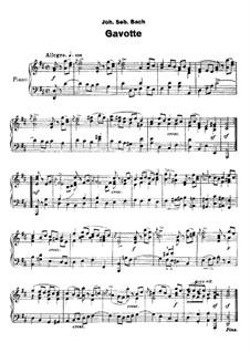 Gavotte: Version for piano by Johann Sebastian Bach