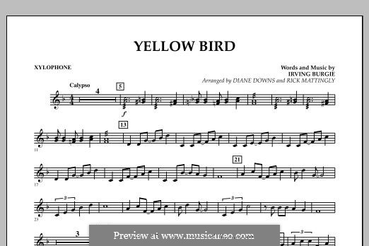 Yellow Bird: Xylophone part by Irving Burgie