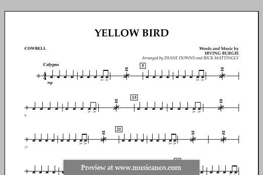Yellow Bird: Cowbell part by Irving Burgie