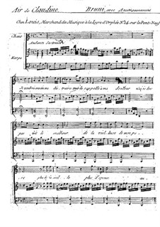 Claudine, ou Le Petit Commissionnaire: Air de Claudine, for voice and harp by Antonio Bartolomeo Bruni