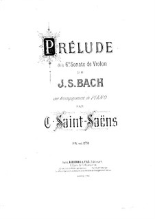 Partita for Violin No.3 in E Major, BWV 1006: Prelude. Arrangement for violin and piano by Johann Sebastian Bach