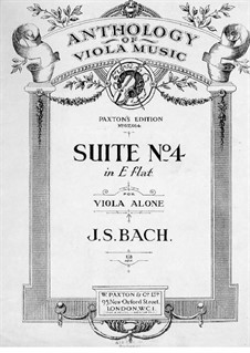 Suite for Cello No.4 in E Flat Major, BWV 1010: Arrangement for viola by Johann Sebastian Bach