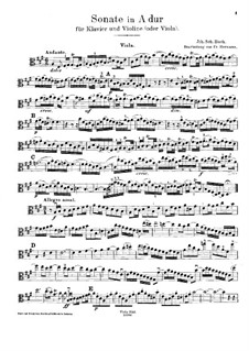 Sonata for Violin and Harpsichord No.2 in A Major, BWV 1015: Arrangement for violin (or viola) and piano – solo part by Johann Sebastian Bach