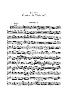 Concerto for Violin, Strings and Basso Continuo No.2 in E Major, BWV 1042: Violins parts by Johann Sebastian Bach