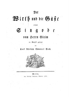 The Host and Guests, H 699 Wq 201: Score by Carl Philipp Emanuel Bach