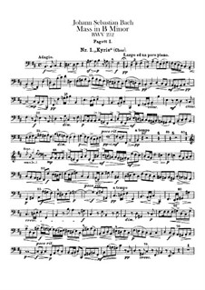 Complete Mass: Bassoons parts by Johann Sebastian Bach