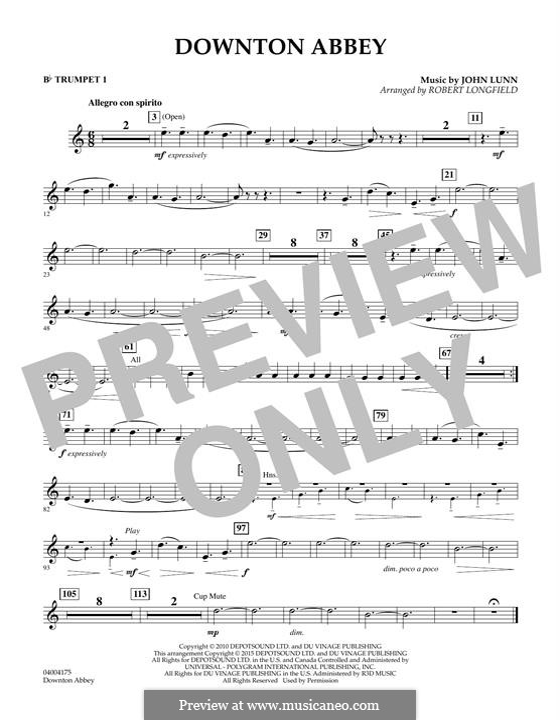 Downton Abbey (Theme): Bb Trumpet 1 part by John Lunn