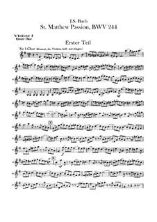 Complete Oratorio: Orchestra I, Violin I Part by Johann Sebastian Bach