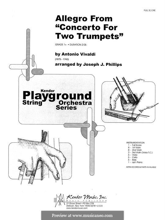 Concerto for Two Trumpets and Strings in C Major, RV 537: Full Score by Antonio Vivaldi