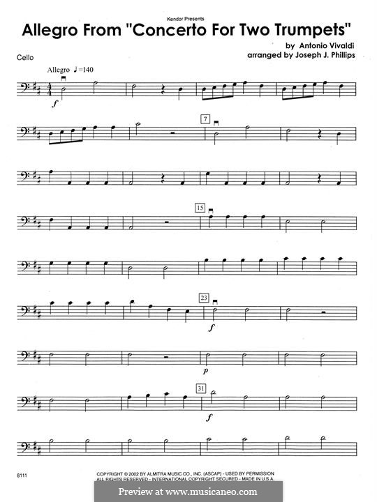 Concerto for Two Trumpets and Strings in C Major, RV 537: Cello part by Antonio Vivaldi