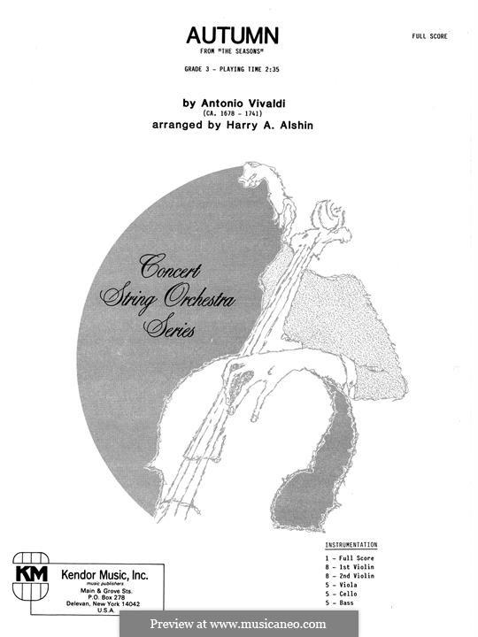 Violin Concerto No.3 in F Major 'L'autunno', RV 293: Full Score by Antonio Vivaldi