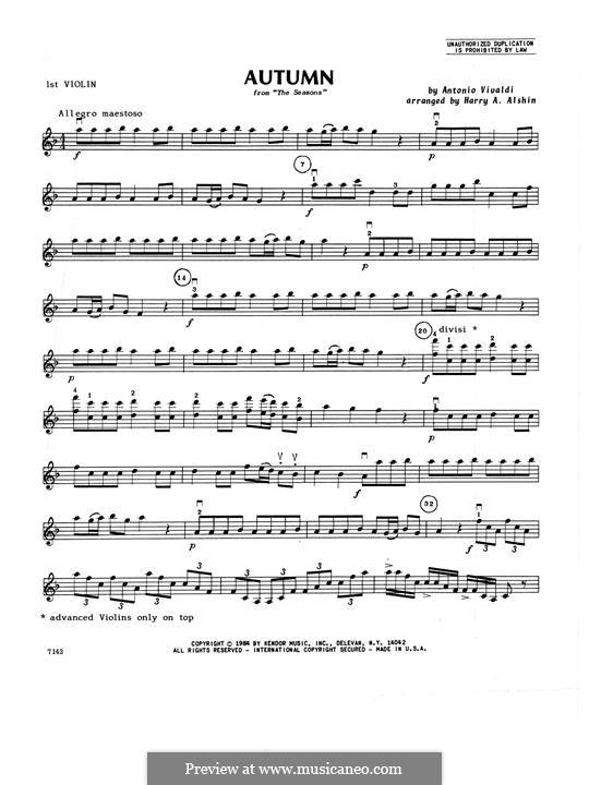 Violin Concerto No.3 in F Major 'L'autunno', RV 293: 1st Violin part by Antonio Vivaldi